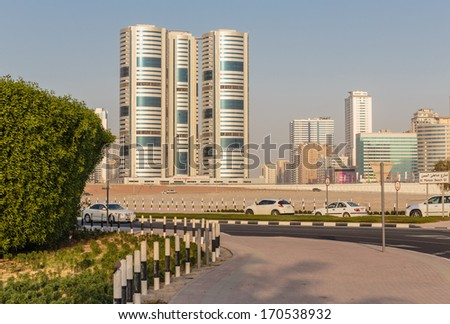 SHARJAH, UAE - NOVEMBER 01: Sharjah - general view, on November 01, 2013. Sharjah is located along northern coast of Persian Gulf on Arabian Peninsula