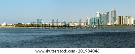 SHARJAH, UAE - OCTOBER 28,2013: Panorama wiew. Sharjah is located along northern coast of Persian Gulf on Arabian Peninsula