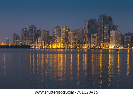 SHARJAH, UAE - OCTOBER 29, 2013: Sharjah - third largest and most populous city in United Arab Emirates.  It is the most industrialized emirate in UAE.