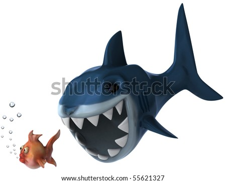 Shark and goldfish - stock photo