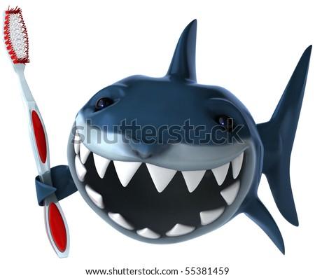 Shark and toothbrush - stock photo