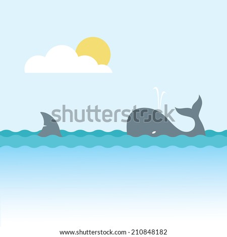 Shark and whale - stock photo