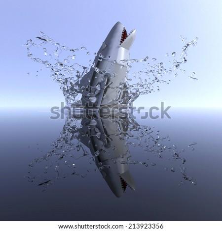 shark robot attack - stock photo