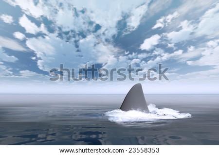 Shark swimming in dark calm water making waves - stock photo
