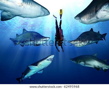 Shark with aquanaut - stock photo