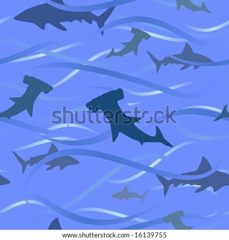 Sharks and waves background (seamless tile vector version also available) - stock photo