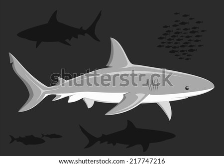 Sharks in the deep sea. Black and white illustration.  Raster illustration.