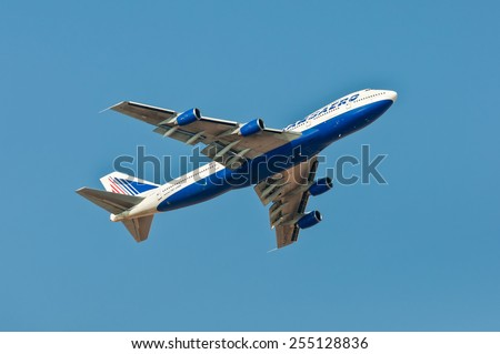 SHARM EL SHEIKH, EGYPT - NOVEMBER 28: Boeing 747-200 Transaero Airlines climbing after takeoff from the Sharm El Sheikh International Airport (SSH), Egypt at November 28, 2010.