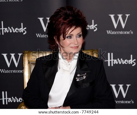 Sharon Osbourne signs copies of her autobiography 'Survivor: My Story - The Next Chapter' at Waterstones book store in Harrods, London, England Credit Entertainment Press - stock photo