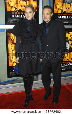 "SHARON STONE & JAY ACOVONE at the world premiere of her new movie ""Alpha Dog"" at the Arclight Theatre, Hollywood. January 3, 2007  Los Angeles, CA Picture: Paul Smith / Featureflash"