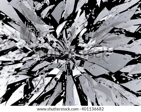 Sharp Broken or Shattered black glass isolated on black