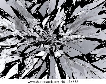 Sharp Broken or Shattered black glass isolated on black - stock photo