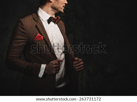 Sharp dressed fashionist wearing jacket and bow tie - stock photo