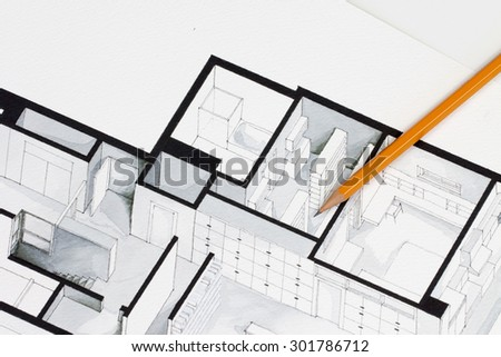 Sharp orange glazed regular pencil on isometric floor plan real estate flat interior decoration architecture drawing - stock photo