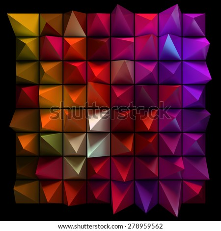 Sharp random pyramids. Abstract futuristic background, design or graphic elements. - stock photo