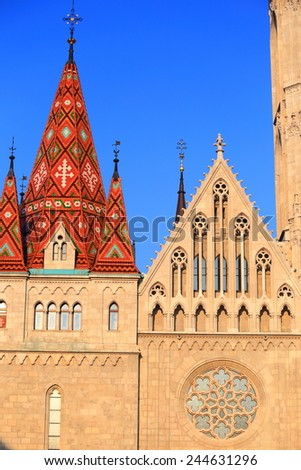 Sharp roof and Gothic architectural of St Matthias catholic church in Budapest, Hungary - stock photo