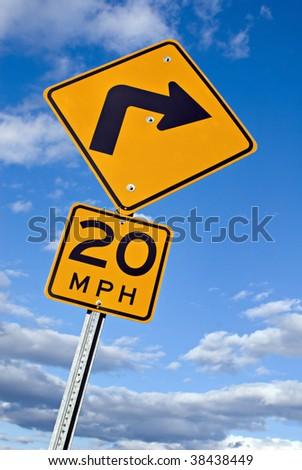 Sharp Turn Warning Sign - stock photo
