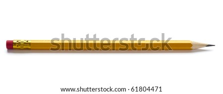 sharp yellow pencil with eraser isolated on white background - stock photo