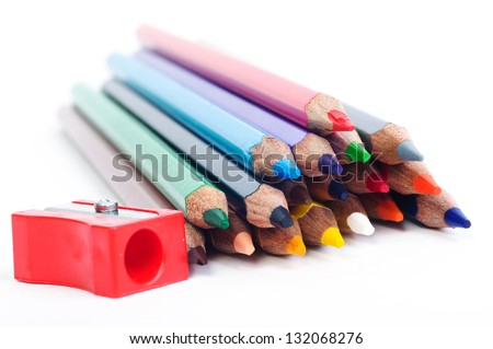 Sharpened pencils and sharper on white paper