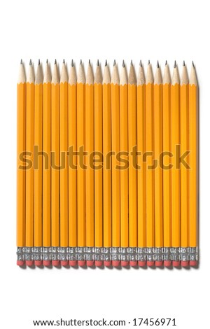 Sharpened pencils isolated on a white background - stock photo