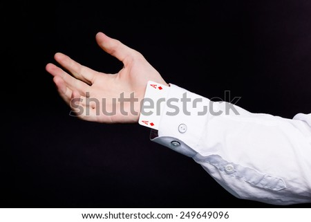 sharpie with playing cards. ace in the hole - stock photo