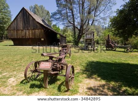 Shasta State Historic Park farming equipment - stock photo