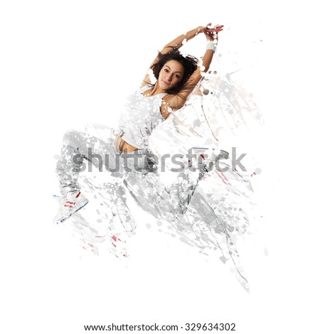 Shattered dancer.image of female dancer jumping. Shattered and disolved effect added in Photoshop. - stock photo