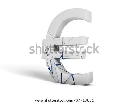 Shattered euro symbol on white background - stock photo