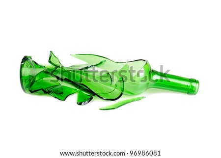 Shattered green wine bottle isolated on the white background - stock photo