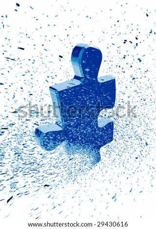 Shattered jigsaw puzzle piece - stock photo