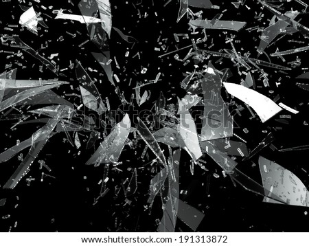 Shattered or smashed glass sharp Pieces on black - stock photo