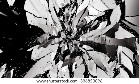 Shattered pieces of glass on black with motion blur. Large resolution - stock photo