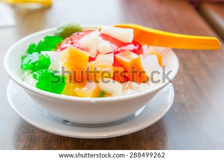 Shaved Ice dessert with Fresh fruits
