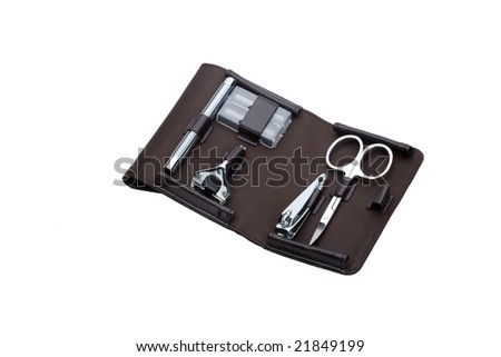 shaving and nail care set - stock photo