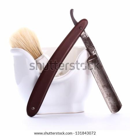 shaving equipment on white - stock photo