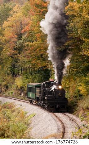 Shay engine number 6 climbs Cheat Mountain near Cass, West Virginia. - stock photo