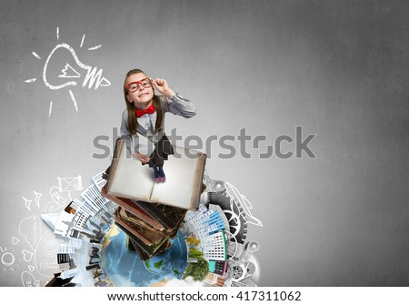She explores this world - stock photo