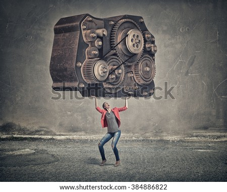 She is not afraid of hard work - stock photo