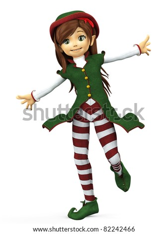 she is the elf santa helper in happy walking - stock photo