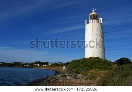 She Oak Point Lighthouse on the Tamar River, George Town, Tasmania, Australia - stock photo
