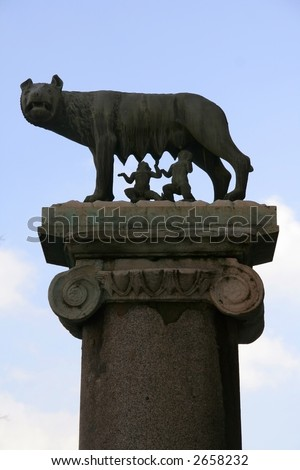 She-wolf feeding Romulus (the founder of Rome) and Remus: ancient Roman symbol on the Capitoline hill - stock photo
