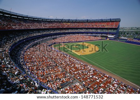 SHEA STADIUM (OLD ONE), NEW YORK, NY - CIRCA 1980's: Interior of baseball stadium in Shea Stadium in New York - stock photo