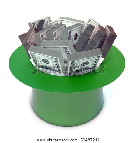 sheaf 100 Dollars banknote in the green cap - stock photo