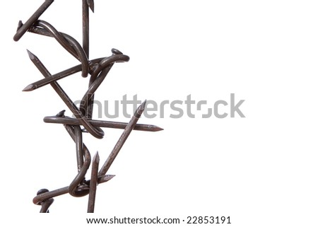 Sheaf of the nails braided among themselves - stock photo