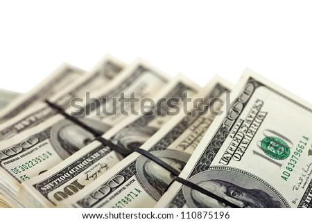 sheafs of 100 Dollars banknotes - stock photo