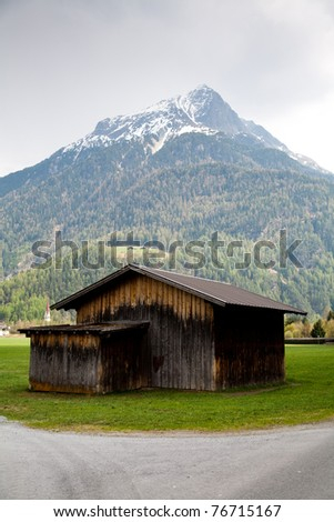 Shed at the bottom of a mountain