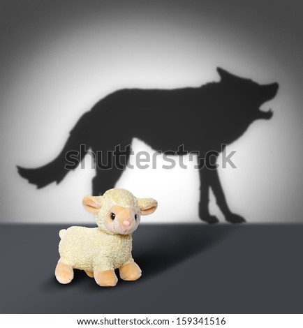 Sheep and wolf shadow. Contept graphic.  - stock photo