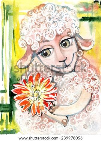sheep, goat, the symbol of 2015 - stock photo