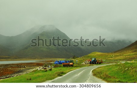 Sheep on a hill in the misty Scottish Highlands - stock photo