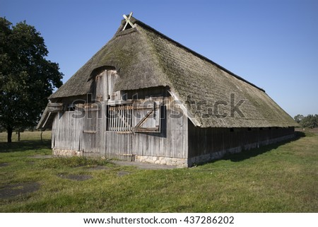 Sheep stable in the Lueneburger Heide, Germany - stock photo